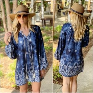 Navy Embroidered mineral wash tunic dress